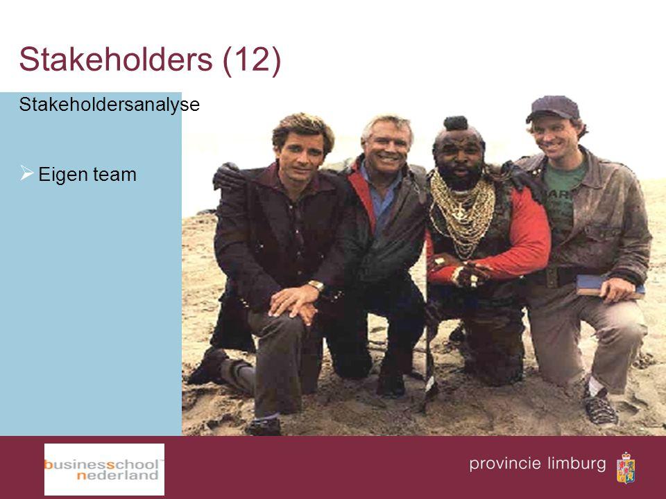 Stakeholders (12) Stakeholdersanalyse Eigen team