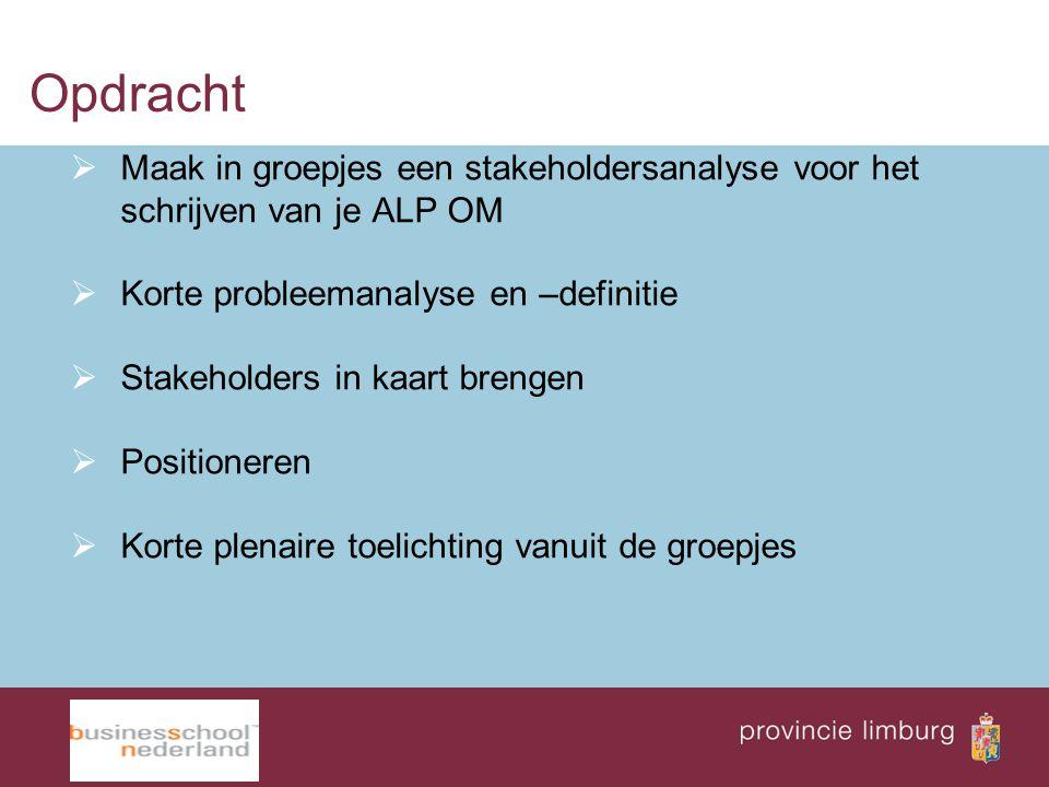 Opdracht Maak in groepjes een stakeholdersanalyse voor het schrijven van je ALP OM. Korte probleemanalyse en –definitie.