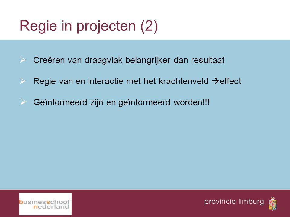Regie in projecten (2) Creëren van draagvlak belangrijker dan resultaat. Regie van en interactie met het krachtenveld effect.
