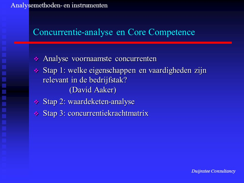 Concurrentie-analyse en Core Competence