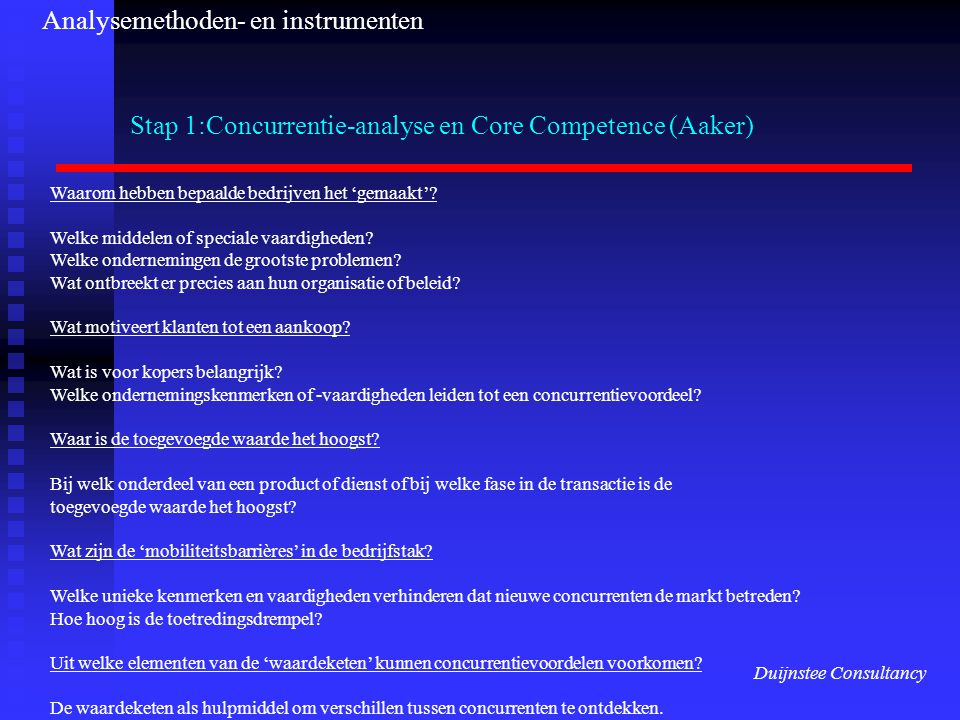 Stap 1:Concurrentie-analyse en Core Competence (Aaker)
