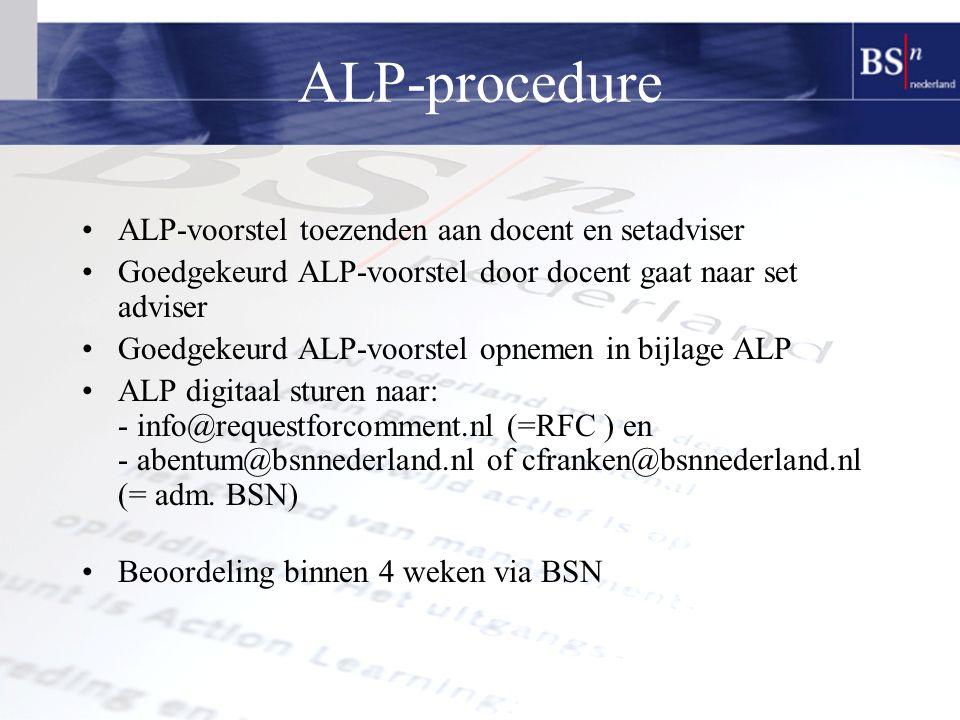 ALP-procedure ALP-voorstel toezenden aan docent en setadviser