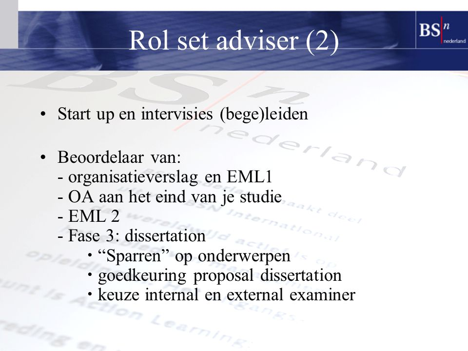 Rol set adviser (2) Start up en intervisies (bege)leiden