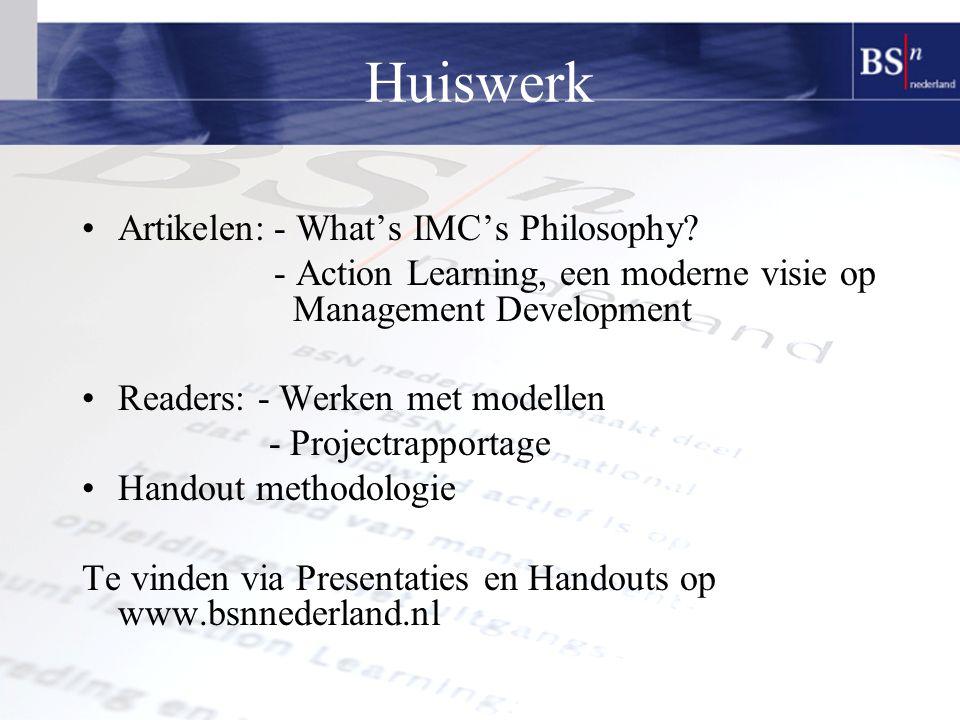 Huiswerk Artikelen: - What's IMC's Philosophy