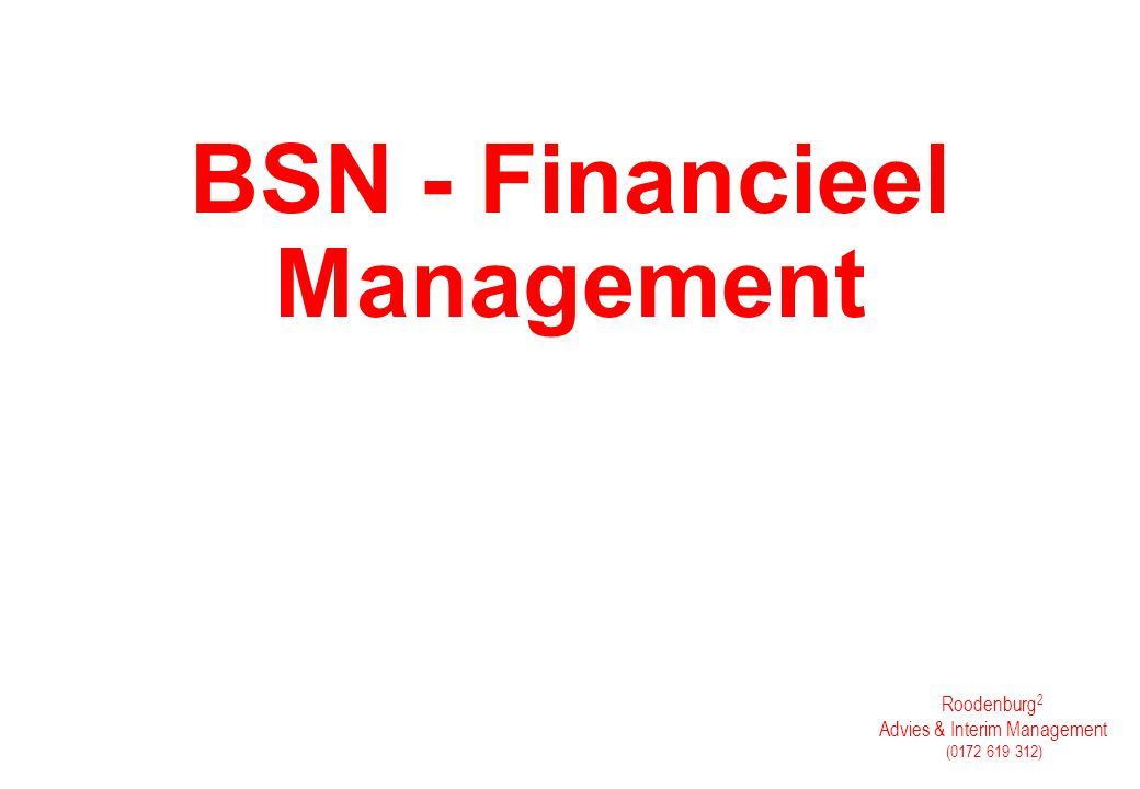 BSN - Financieel Management