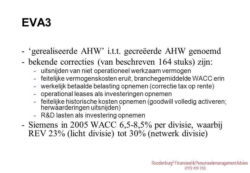 EVA3 'gerealiseerde AHW' i.t.t. gecreëerde AHW genoemd