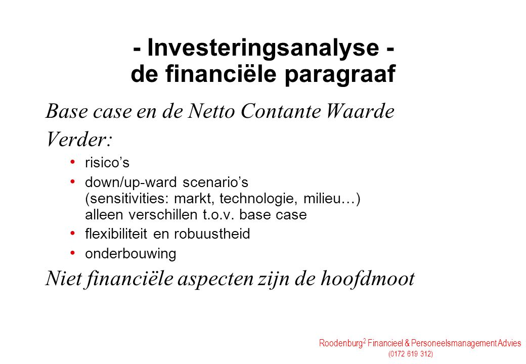 - Investeringsanalyse - de financiële paragraaf