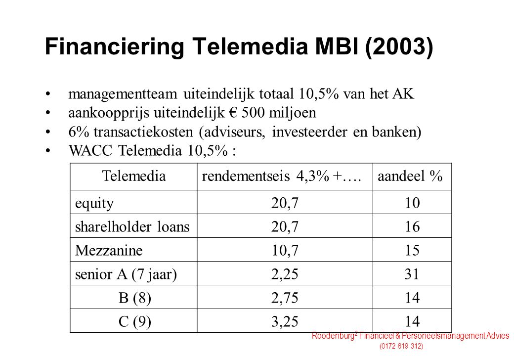 Financiering Telemedia MBI (2003)