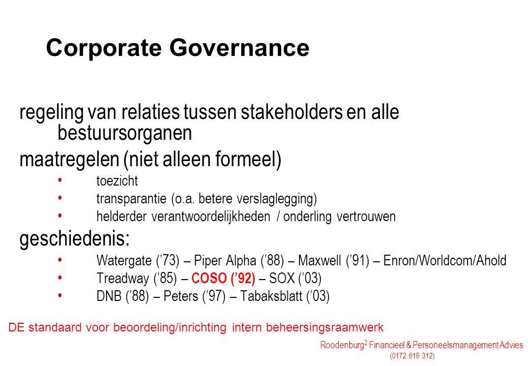 Corporate Governance regeling van relaties tussen stakeholders en alle bestuursorganen. maatregelen (niet alleen formeel)