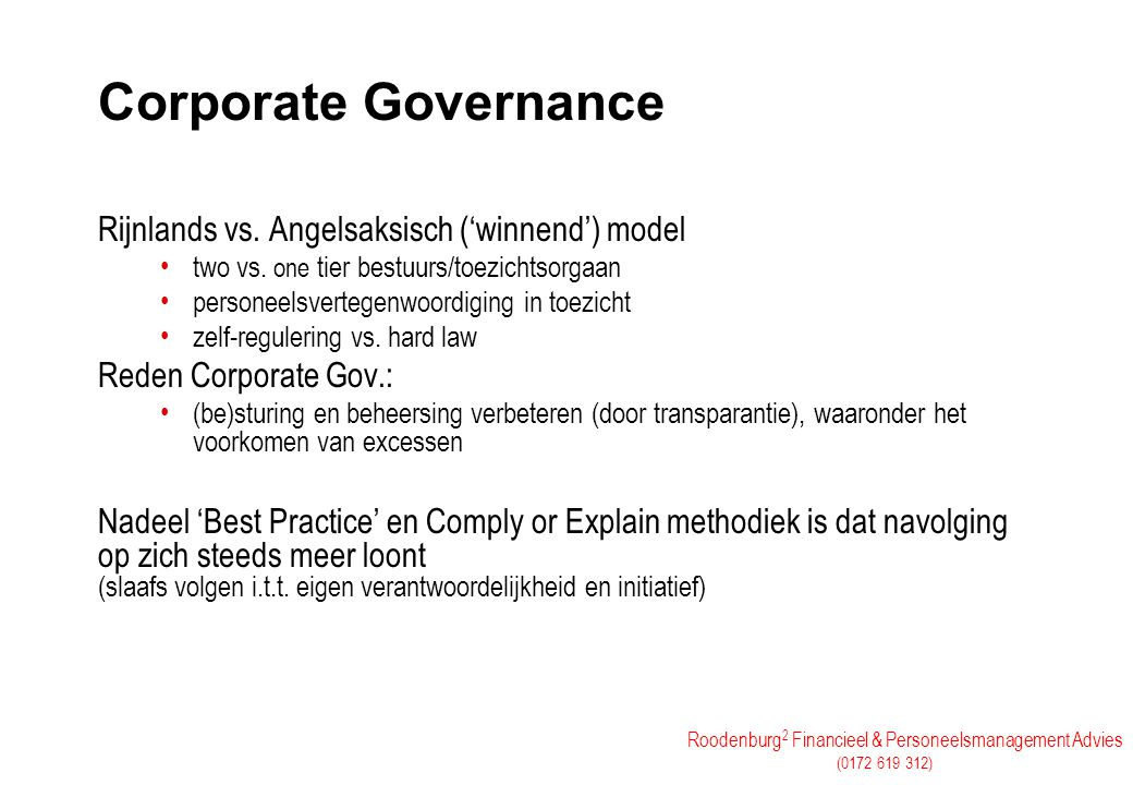 Corporate Governance Rijnlands vs. Angelsaksisch ('winnend') model