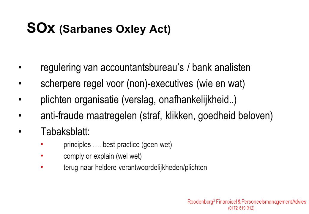 SOx (Sarbanes Oxley Act)
