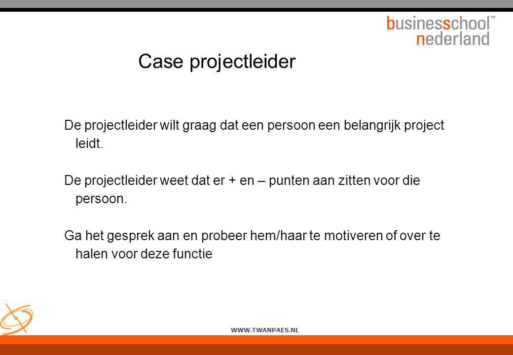 Case projectleider De projectleider wilt graag dat een persoon een belangrijk project leidt.