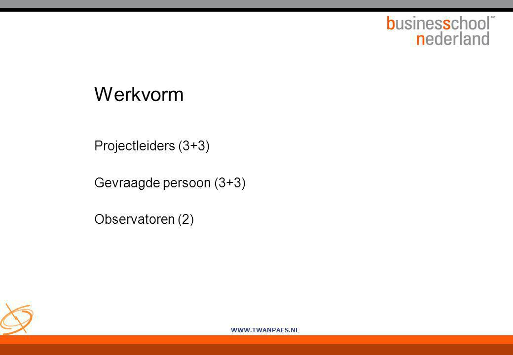 Werkvorm Projectleiders (3+3) Gevraagde persoon (3+3) Observatoren (2)