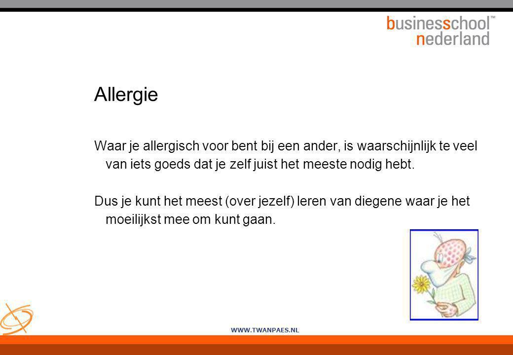 Allergie Waar je allergisch voor bent bij een ander, is waarschijnlijk te veel van iets goeds dat je zelf juist het meeste nodig hebt.