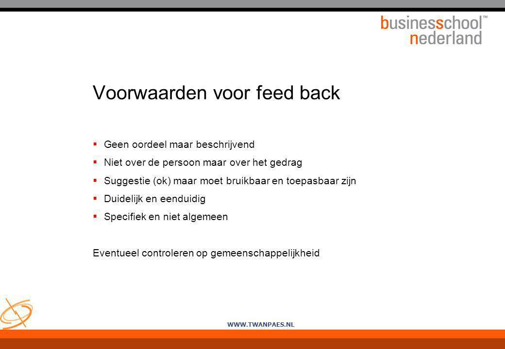 Voorwaarden voor feed back