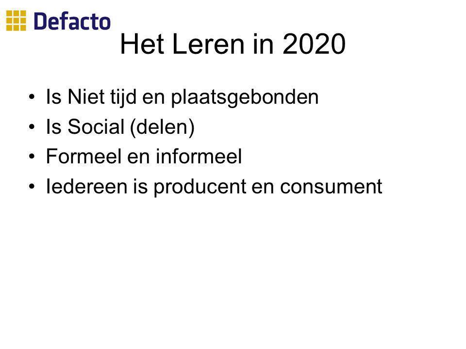 Het Leren in 2020 Is Niet tijd en plaatsgebonden Is Social (delen)