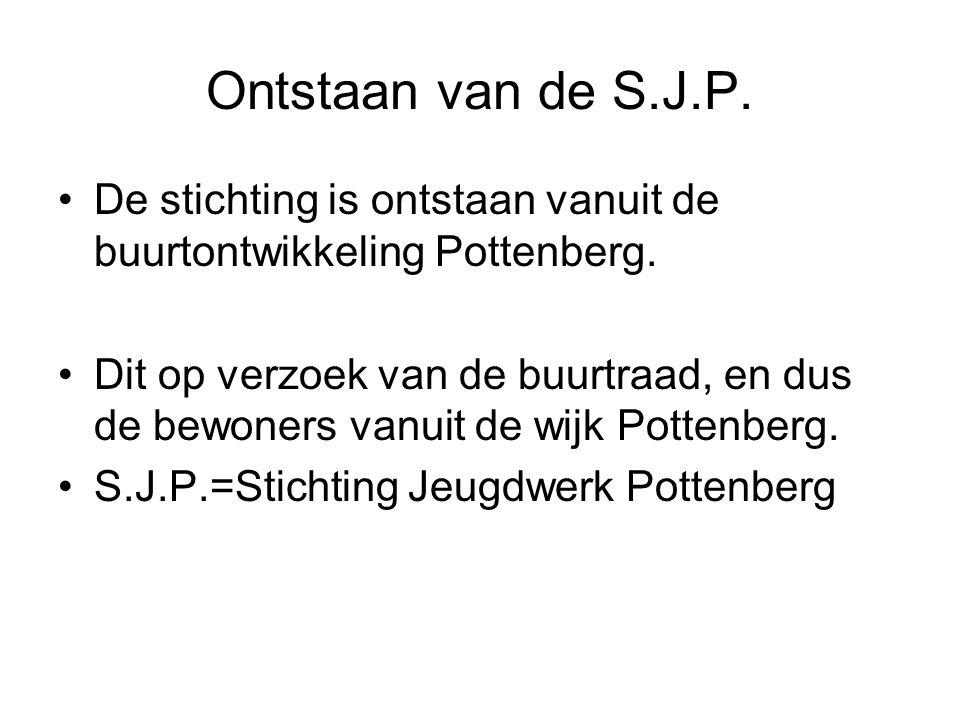 Ontstaan van de S.J.P. De stichting is ontstaan vanuit de buurtontwikkeling Pottenberg.