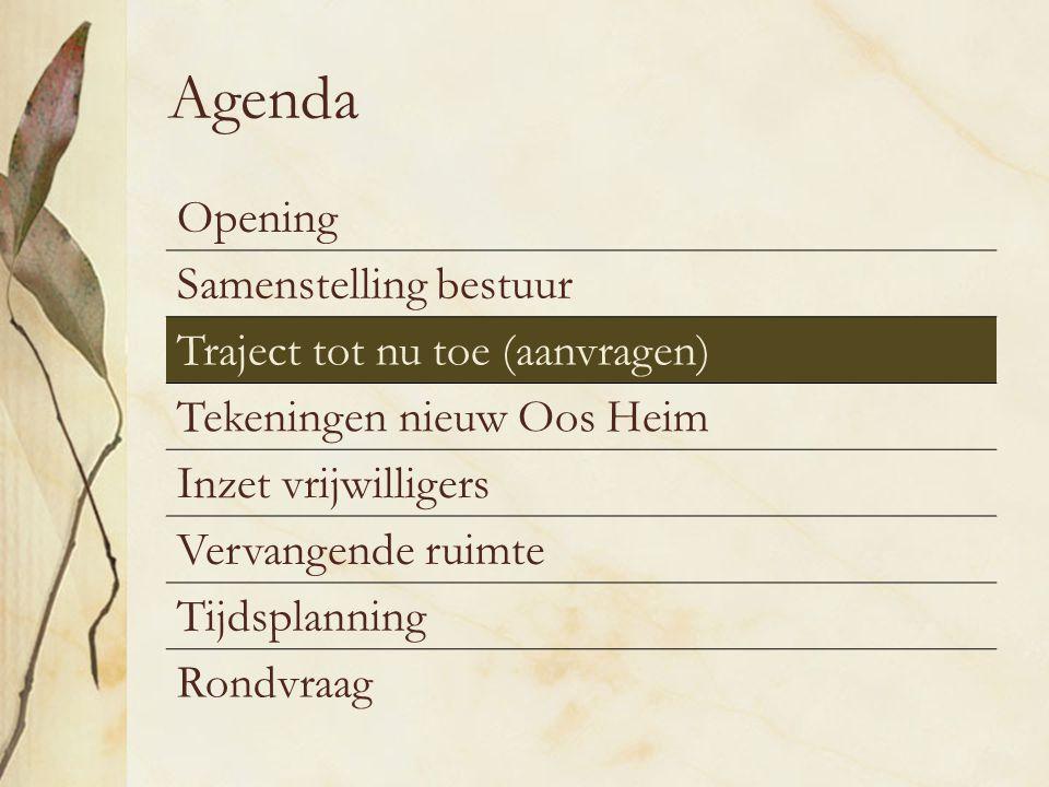 Agenda Opening Samenstelling bestuur Traject tot nu toe (aanvragen)