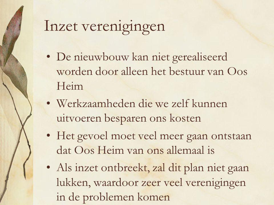Inzet verenigingen De nieuwbouw kan niet gerealiseerd worden door alleen het bestuur van Oos Heim.