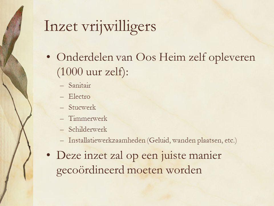 Inzet vrijwilligers Onderdelen van Oos Heim zelf opleveren (1000 uur zelf): Sanitair. Electro. Stucwerk.