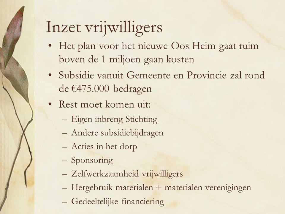 Inzet vrijwilligers Het plan voor het nieuwe Oos Heim gaat ruim boven de 1 miljoen gaan kosten.