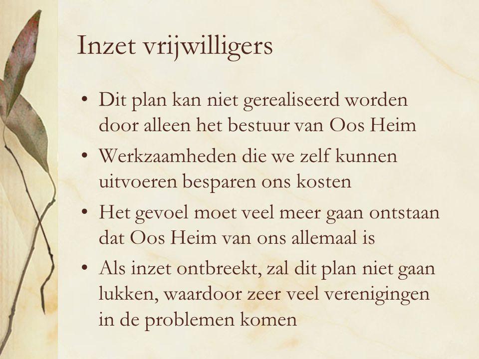 Inzet vrijwilligers Dit plan kan niet gerealiseerd worden door alleen het bestuur van Oos Heim.