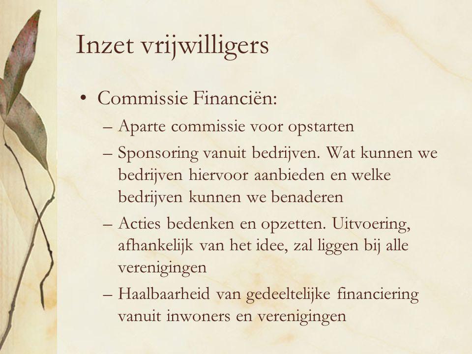 Inzet vrijwilligers Commissie Financiën: