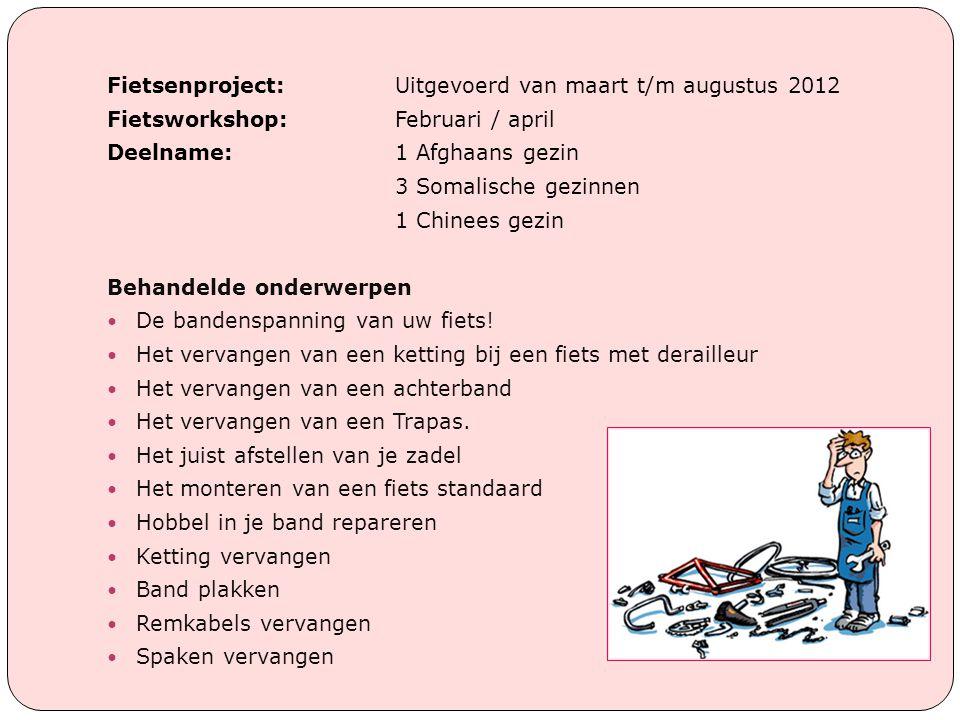 Fietsenproject: Uitgevoerd van maart t/m augustus 2012