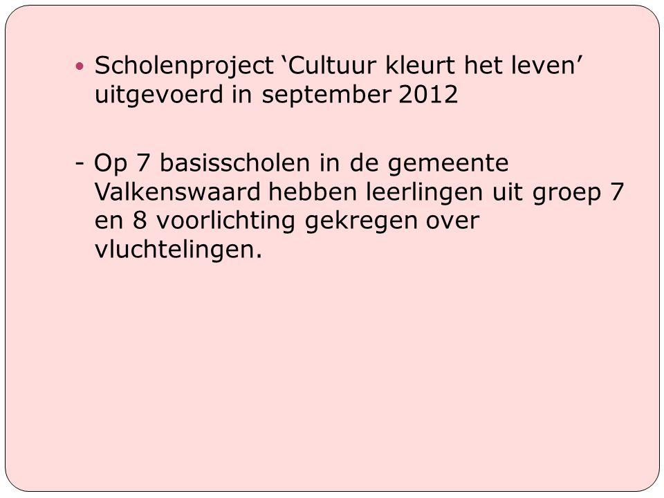 Scholenproject 'Cultuur kleurt het leven' uitgevoerd in september 2012