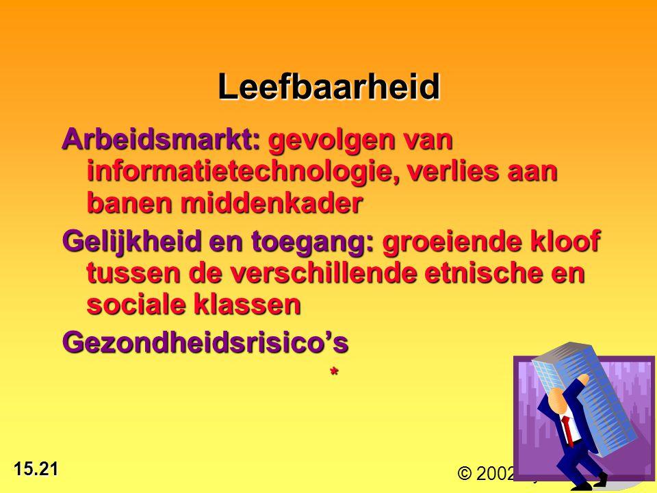 Leefbaarheid Arbeidsmarkt: gevolgen van informatietechnologie, verlies aan banen middenkader.