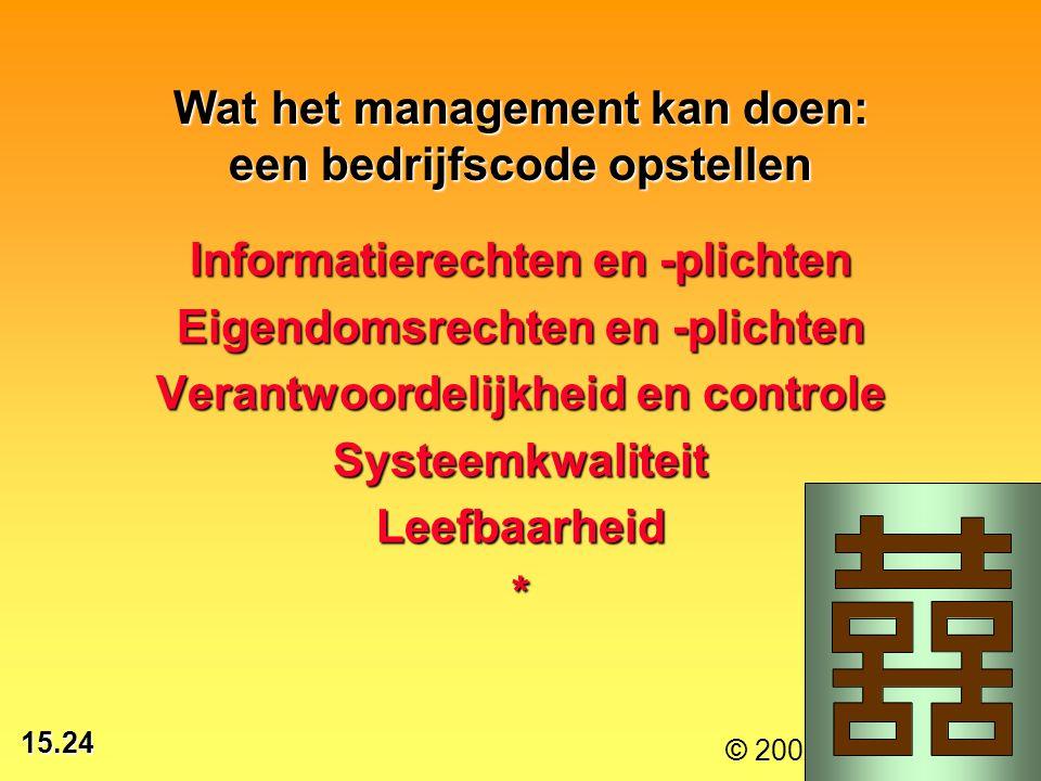 Wat het management kan doen: een bedrijfscode opstellen