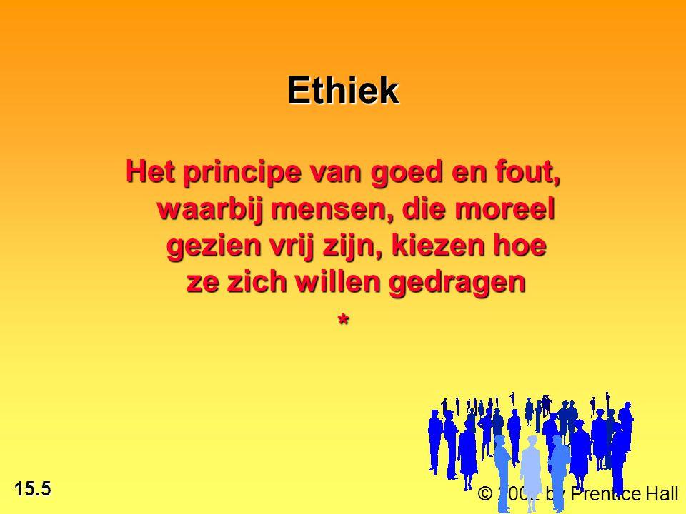 Ethiek Het principe van goed en fout, waarbij mensen, die moreel gezien vrij zijn, kiezen hoe ze zich willen gedragen.