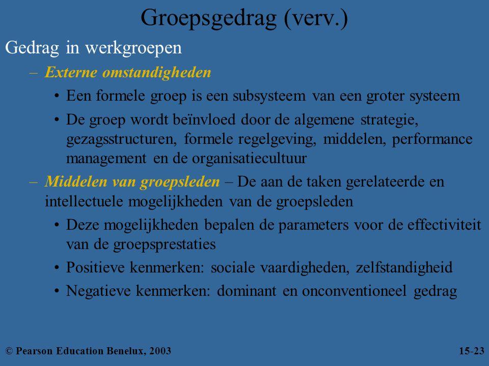 Groepsgedrag (verv.) Gedrag in werkgroepen Externe omstandigheden