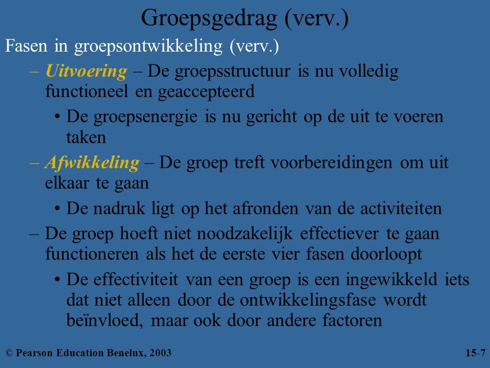 Groepsgedrag (verv.) Fasen in groepsontwikkeling (verv.)