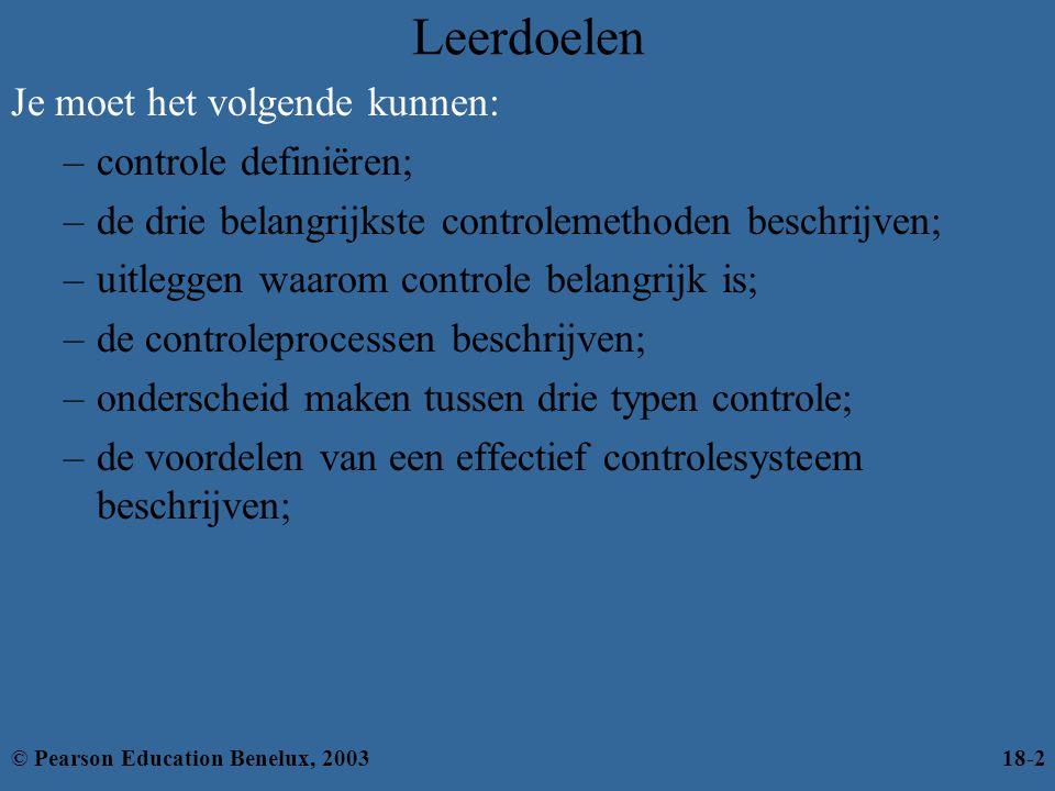 Leerdoelen Je moet het volgende kunnen: controle definiëren;