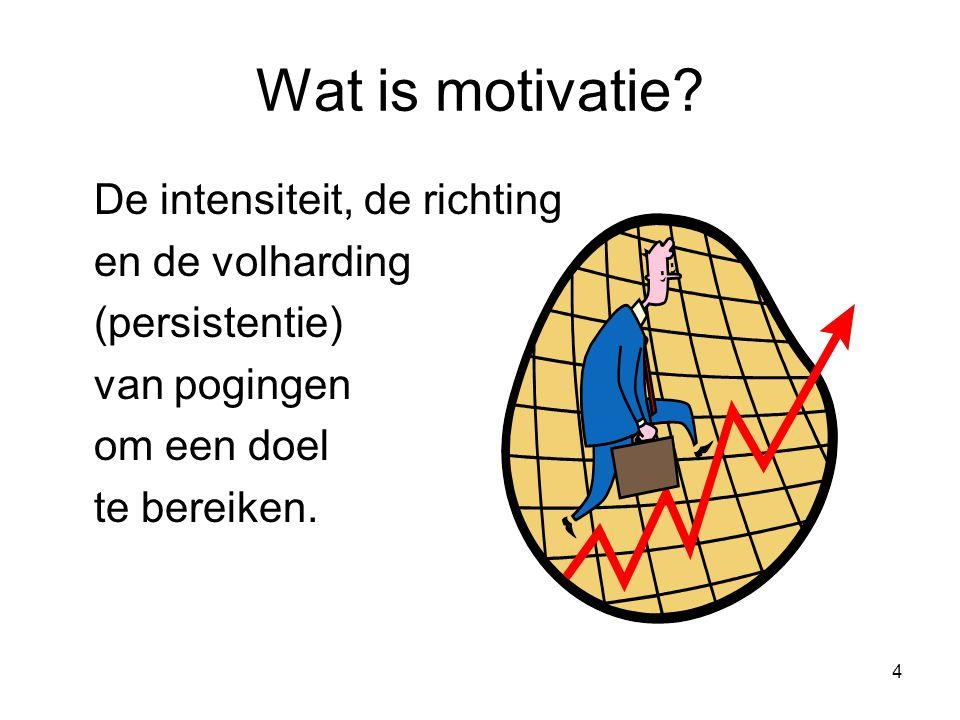 Wat is motivatie De intensiteit, de richting en de volharding