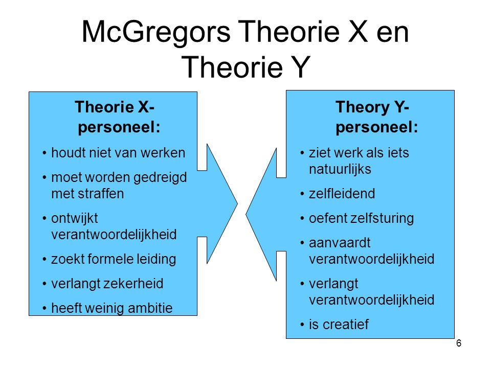 McGregors Theorie X en Theorie Y