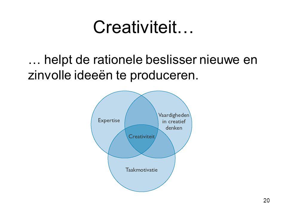 Creativiteit… … helpt de rationele beslisser nieuwe en zinvolle ideeёn te produceren.