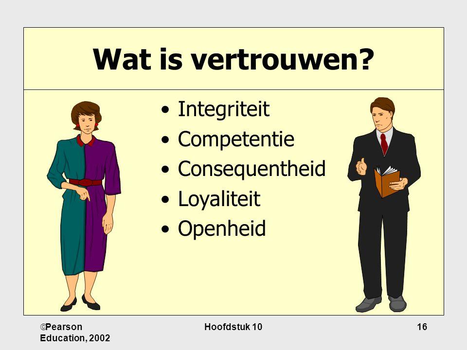 Wat is vertrouwen Integriteit Competentie Consequentheid Loyaliteit