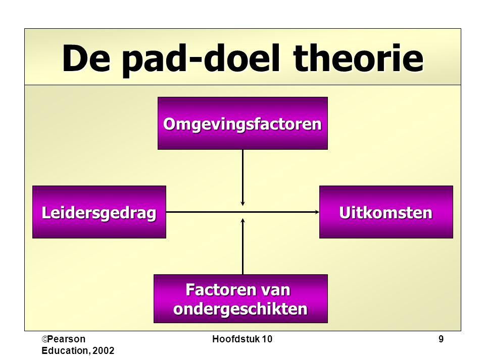 De pad-doel theorie Omgevingsfactoren Leidersgedrag Uitkomsten