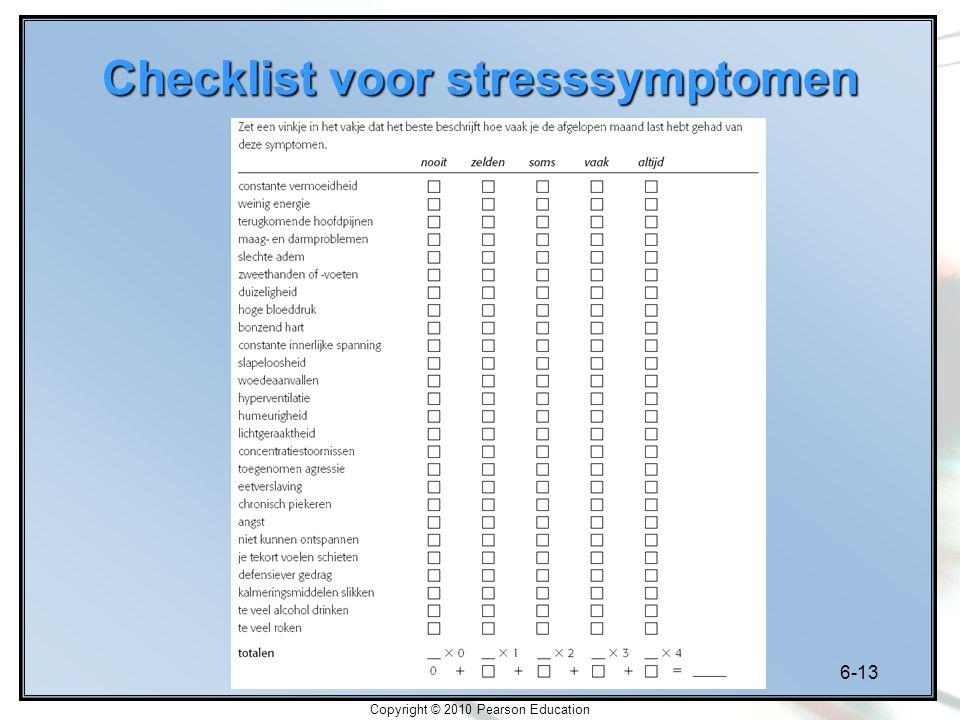 Checklist voor stresssymptomen