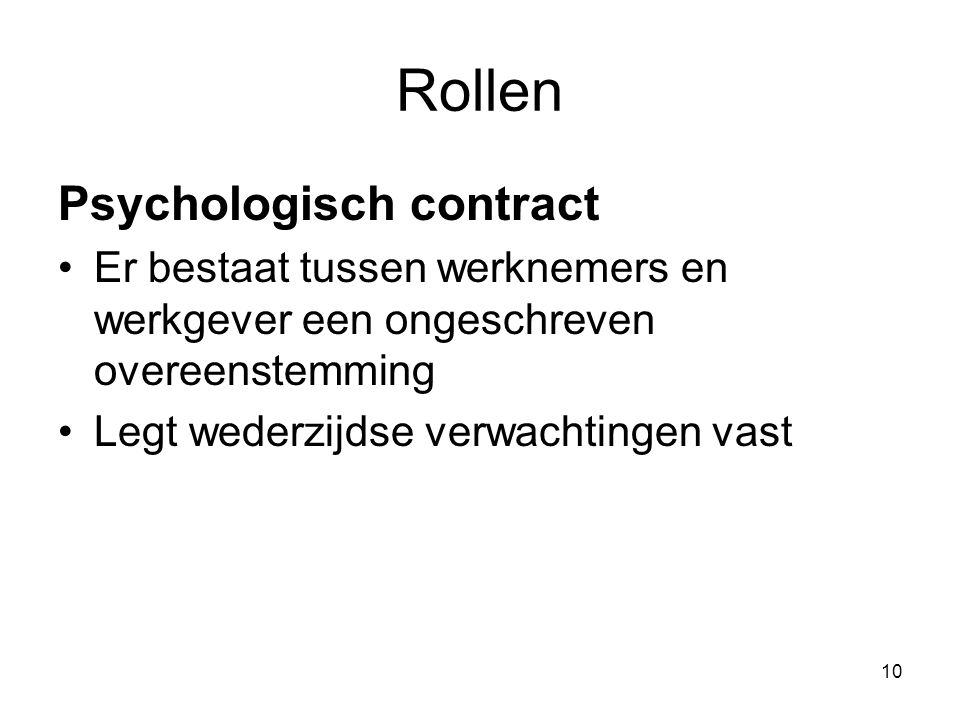 Rollen Psychologisch contract