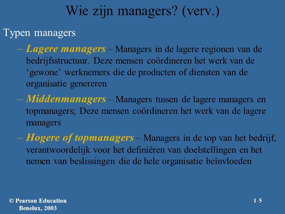 Wie zijn managers (verv.)