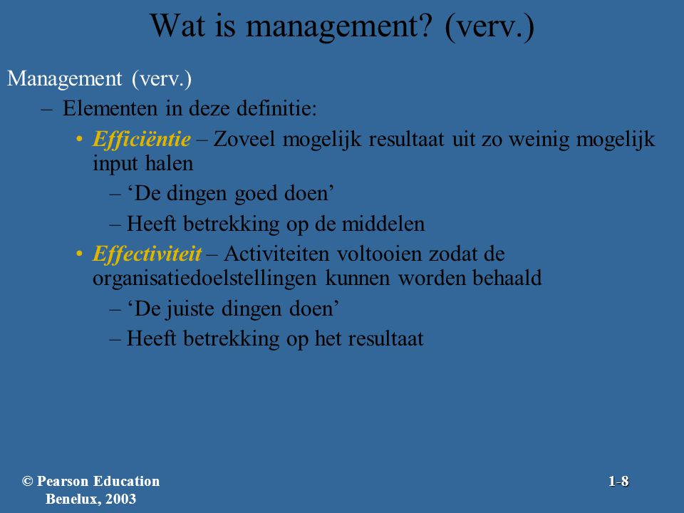 Wat is management (verv.)