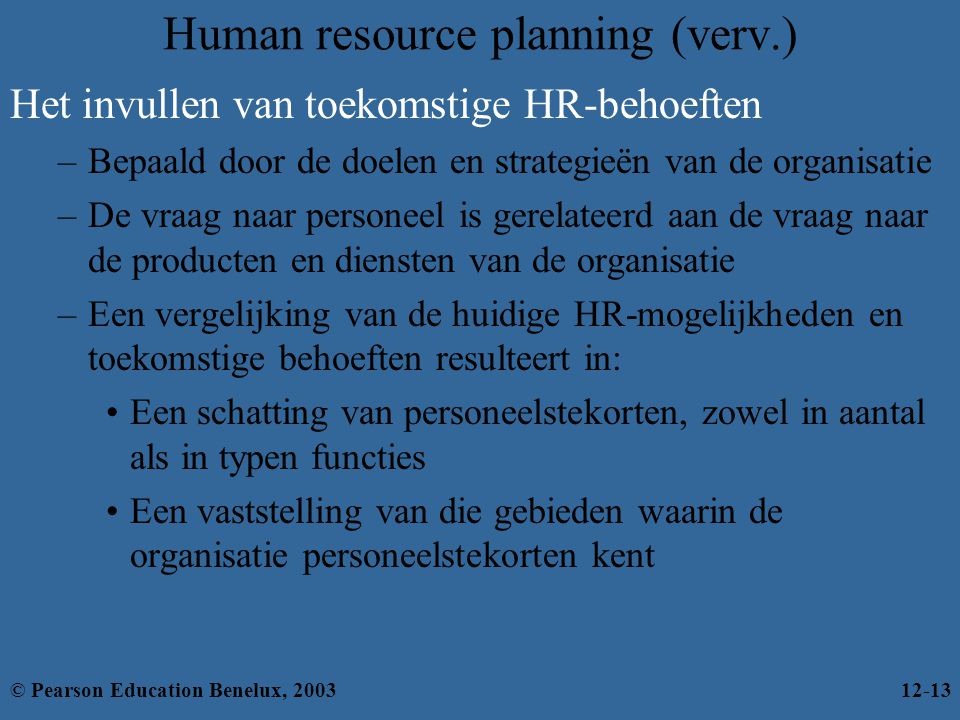 Human resource planning (verv.)