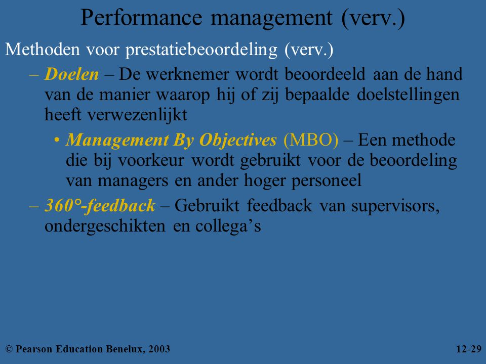 Performance management (verv.)