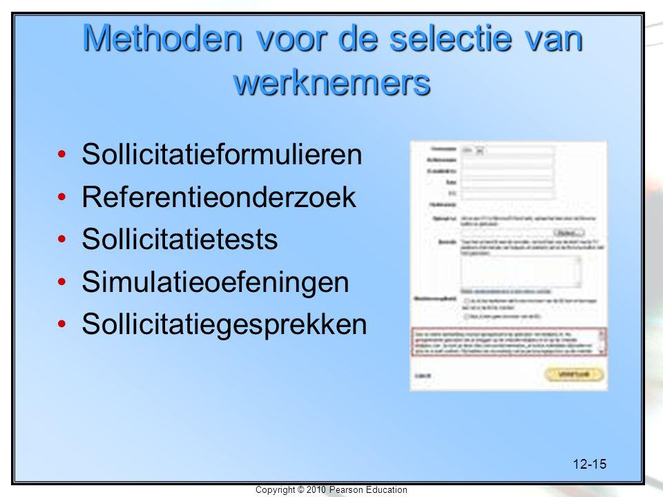 Methoden voor de selectie van werknemers
