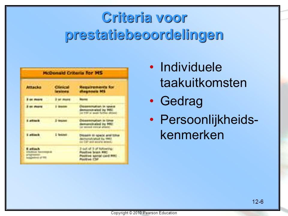 Criteria voor prestatiebeoordelingen
