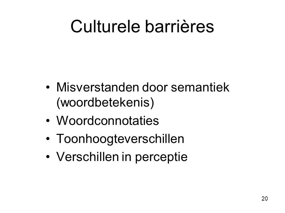 Culturele barrières Misverstanden door semantiek (woordbetekenis)