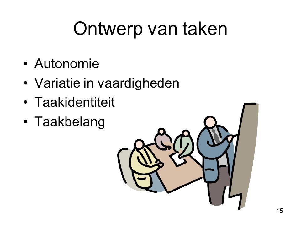 Ontwerp van taken Autonomie Variatie in vaardigheden Taakidentiteit
